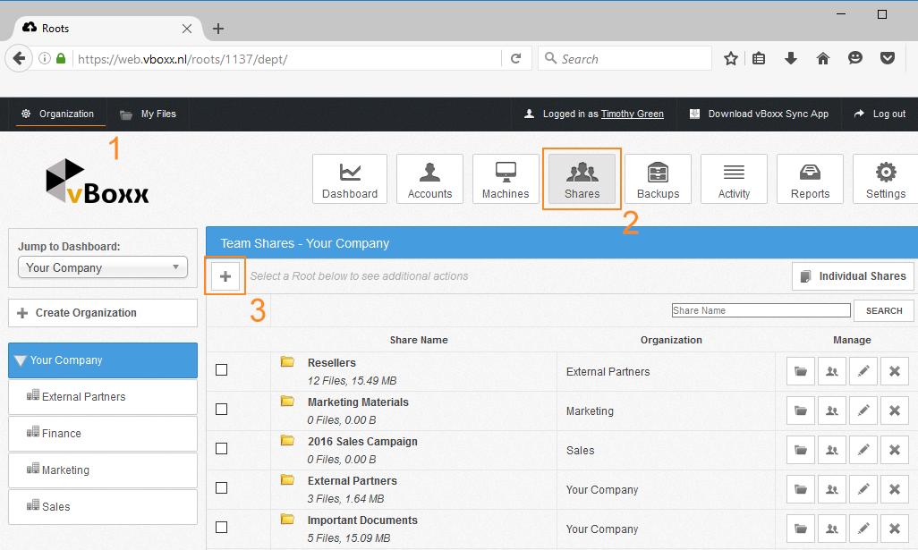 add team share - vBoxxCloud