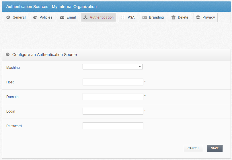 configure an authentication source - vBoxxCloud