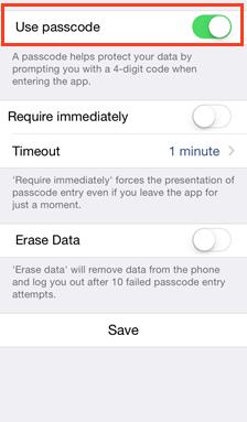 set up passcode on iOS - vBoxxCloud