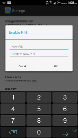 android app - enable pin - vBoxxCloud