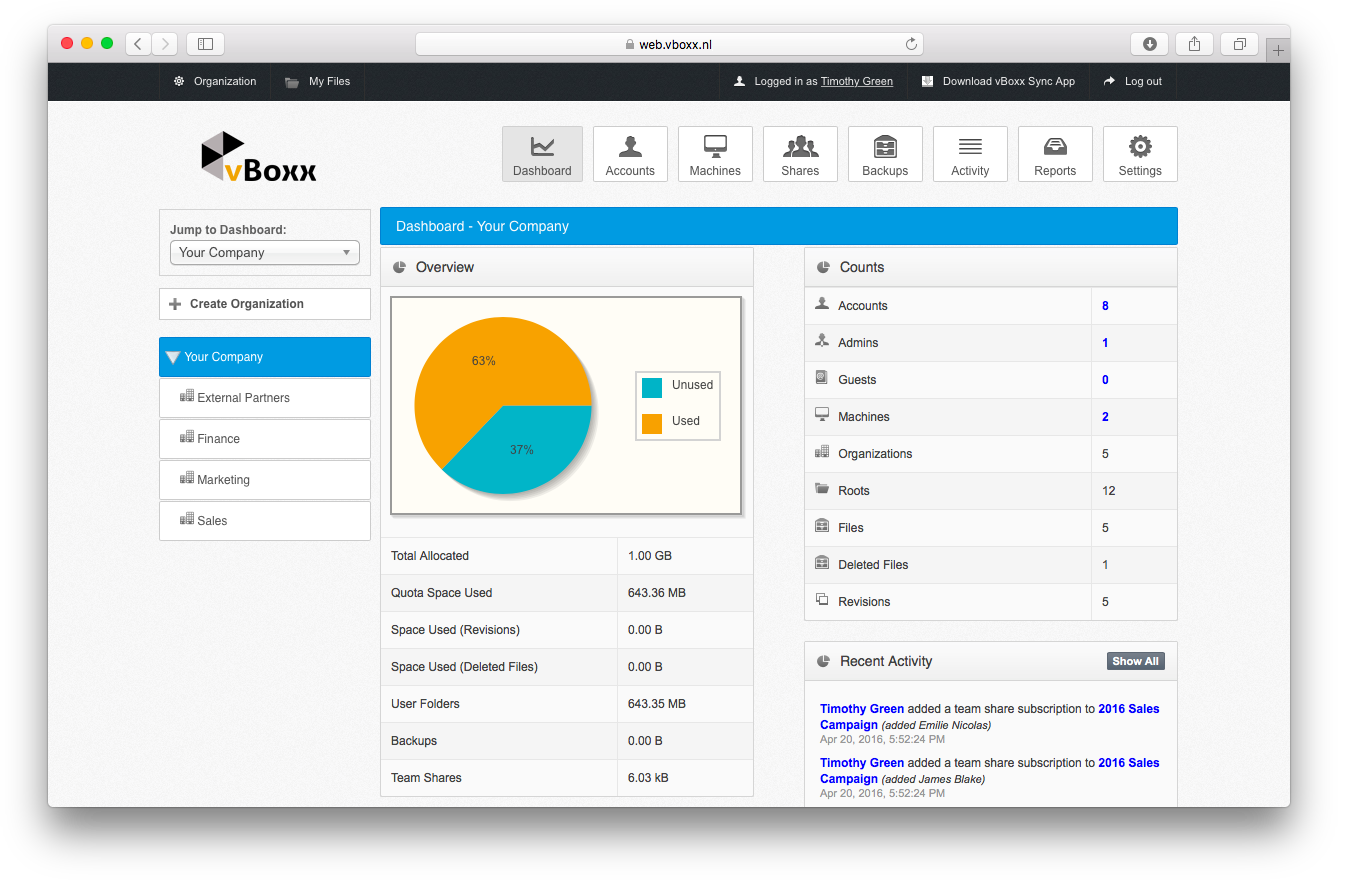 admin dashboard vboxxcloud