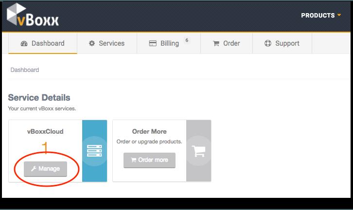 vBoxx Client Portal - Manage vBoxxCloud product