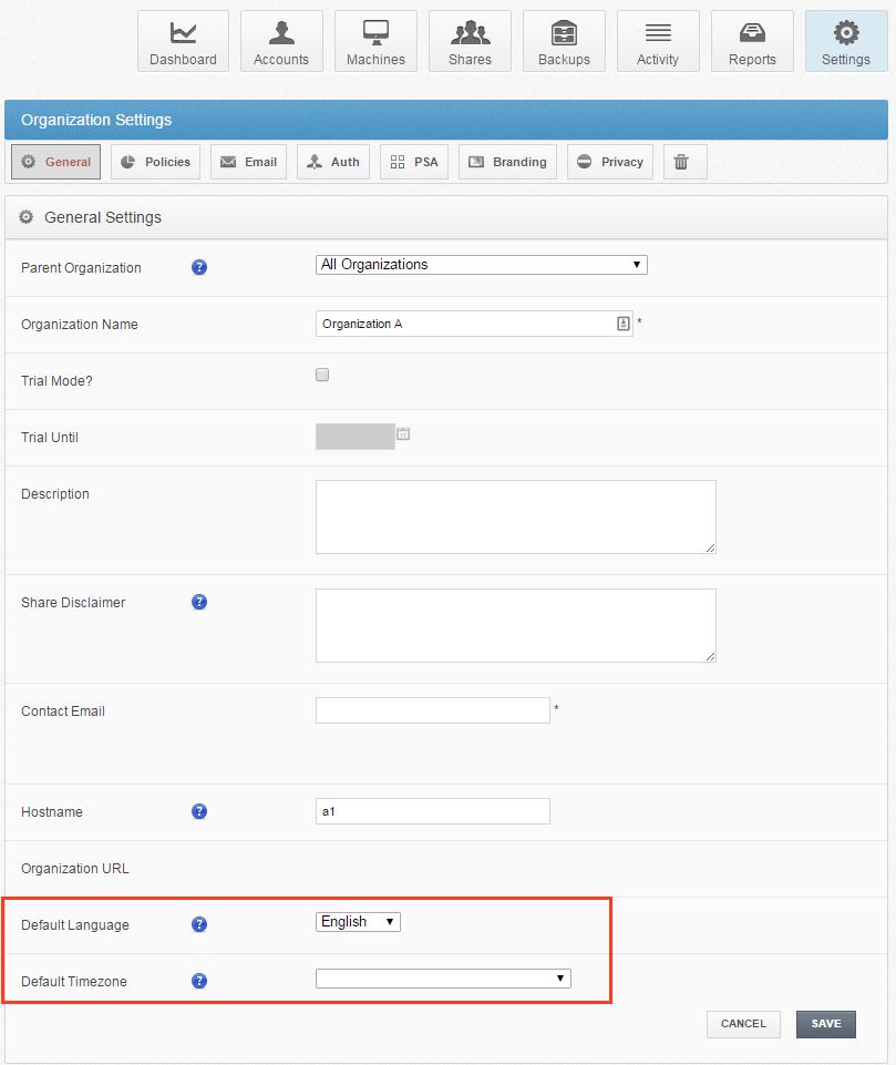 verander als admin de taal - vBoxxCloud