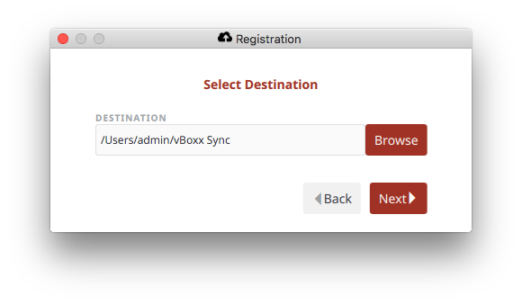 select folder destination - vBoxxCloud