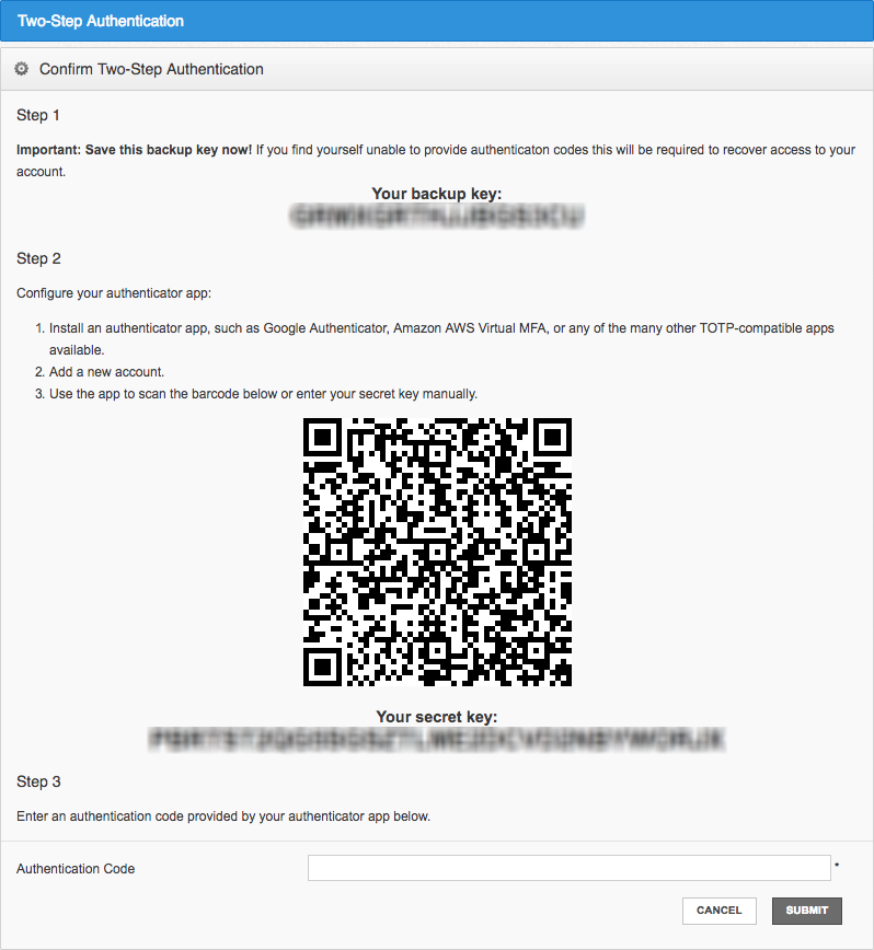 Two factor authentication mobile app