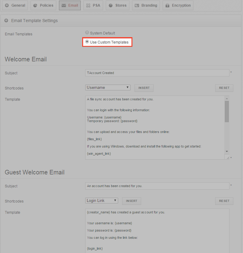 use custom email templates - vBoxxCloud