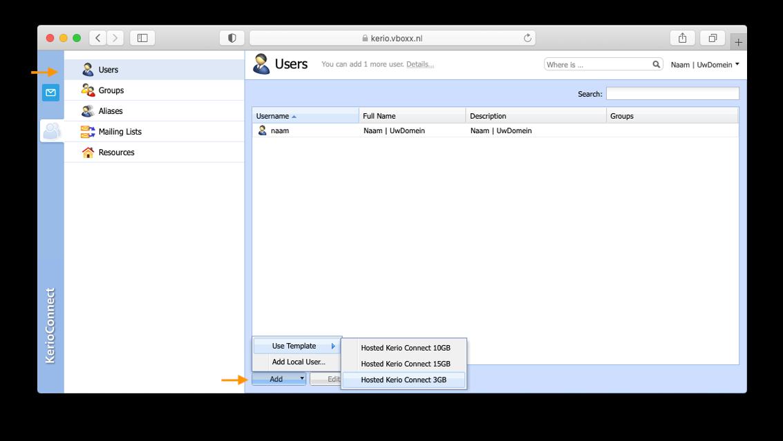 create kerio accounts as an admin  1 - vBoxx