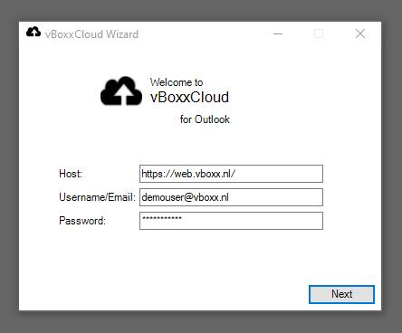 login outlook plugin - vBoxxCloud