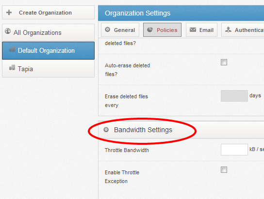 bandwidth throttling settings - vBoxxCloud