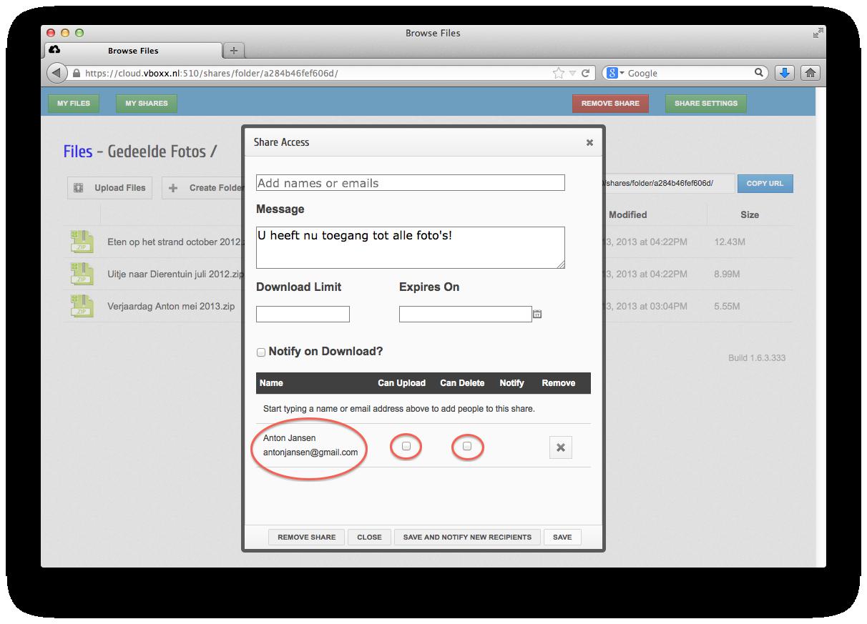 delen met externe contacten - vBoxxCloud